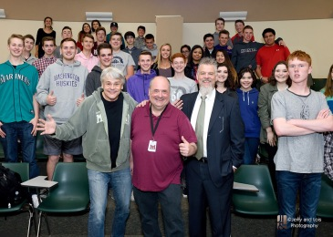 0007-MIHS-Joe-with-Bob-Rivers-Spike-ONeill-Jerry-and-Lois-Photography-2016.jpg Mercer Island High School | Bob Rivers and Spike O'Neill visit with Joe Bryant and students | April 2016 © Jerry and Lois Photography All rights reserved http://www.jerryandlois.com